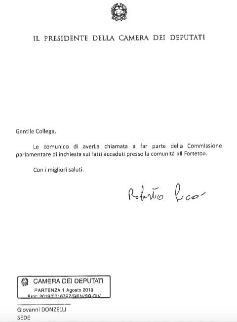 La lettera di nomina a membro della Commissione parlamentare d'inchiesta sul Forteto