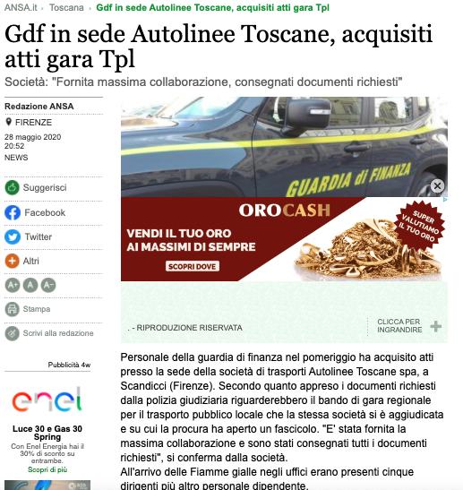 Trasporto toscana ai francesi sotto inchiesta