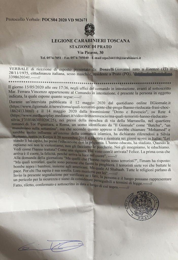 """Silvia Romano, esposto contro esponente islam: """"Voi terroristi"""""""
