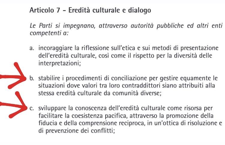 L'articolo 7 della Convenzione di Faro: ecco il trattato che censura il nostro patrimonio