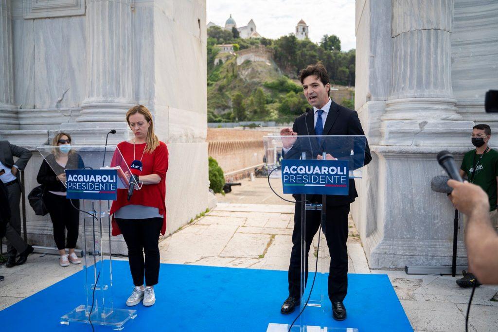 Francesco Acquaroli, candidato governatore nelle Marche, con Giorgia Meloni