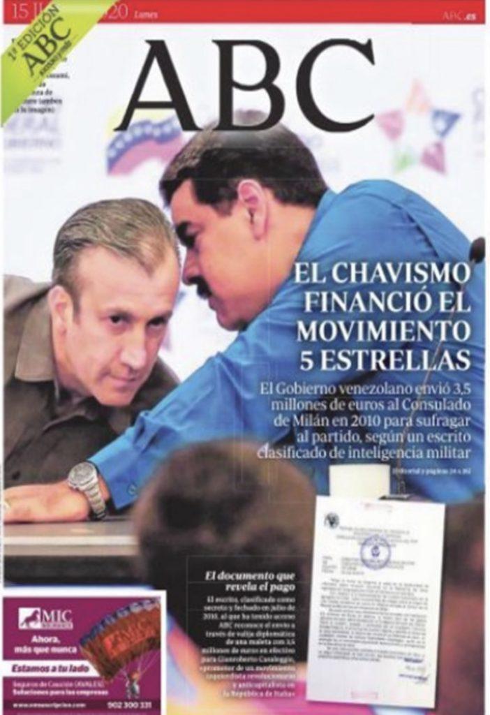 5stelle finanziati da Maduro. La copertina di ABC