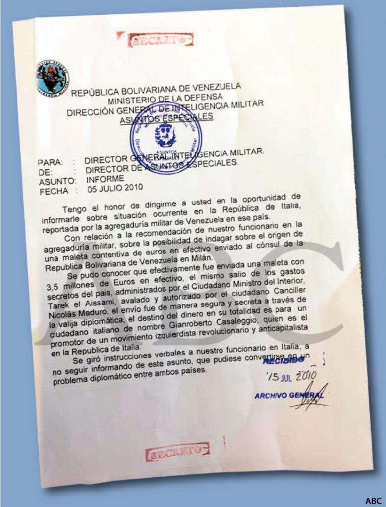 3milioni e mezzo in una valigetta dal regime venezuelano ai 5 stelle. Ecco la prova mostrata da ABC