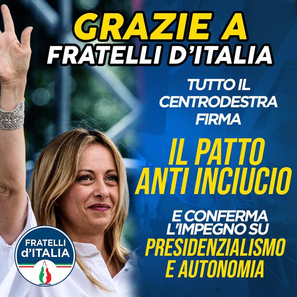 Meloni, Salvini e Berslusconi: il centrodestra dice sì al patto anti inciucio