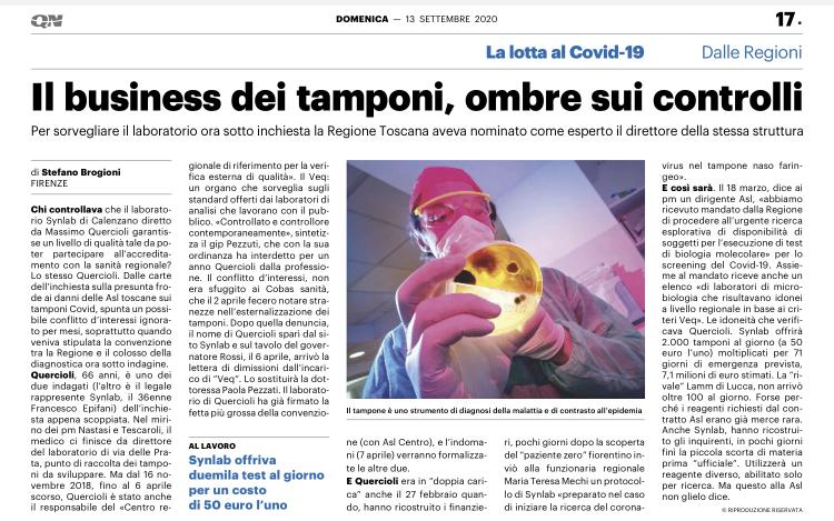 Tamponi fasulli: inchiesta in Toscana
