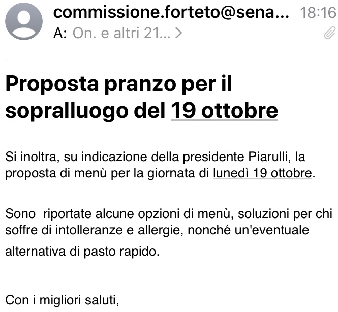Commissione Forteto: la proposta di pranzo