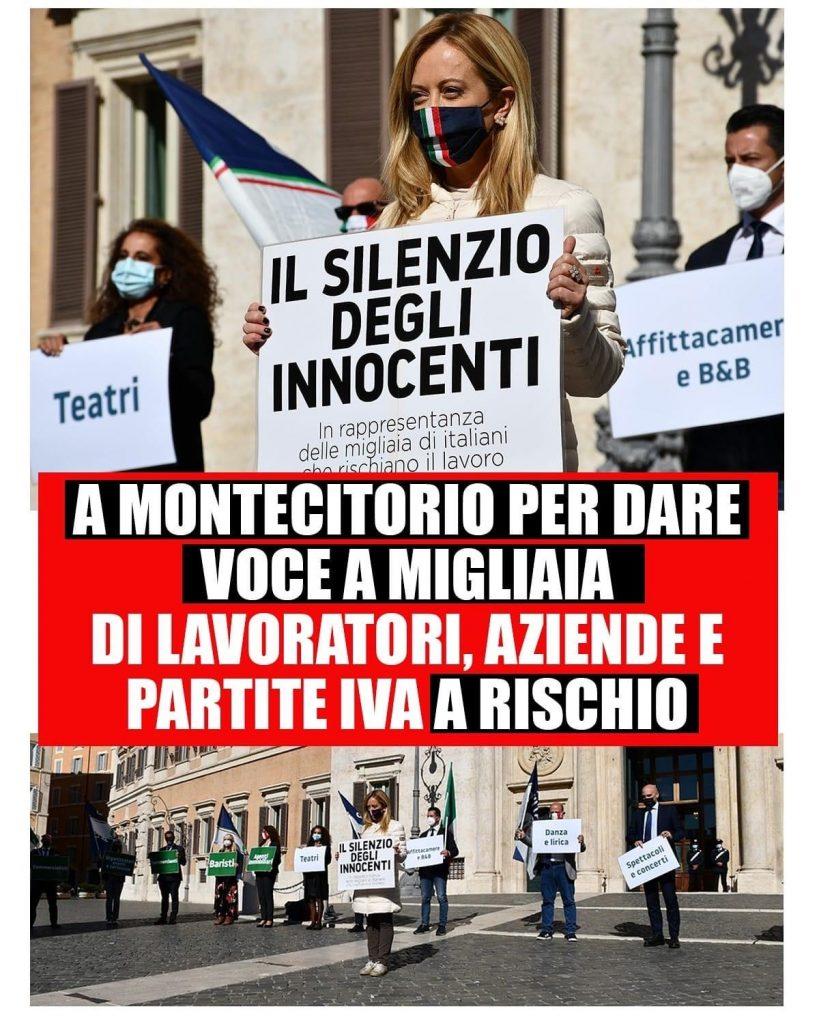 Coronavirus, manifestazione di Fratelli d'Italia e Meloni