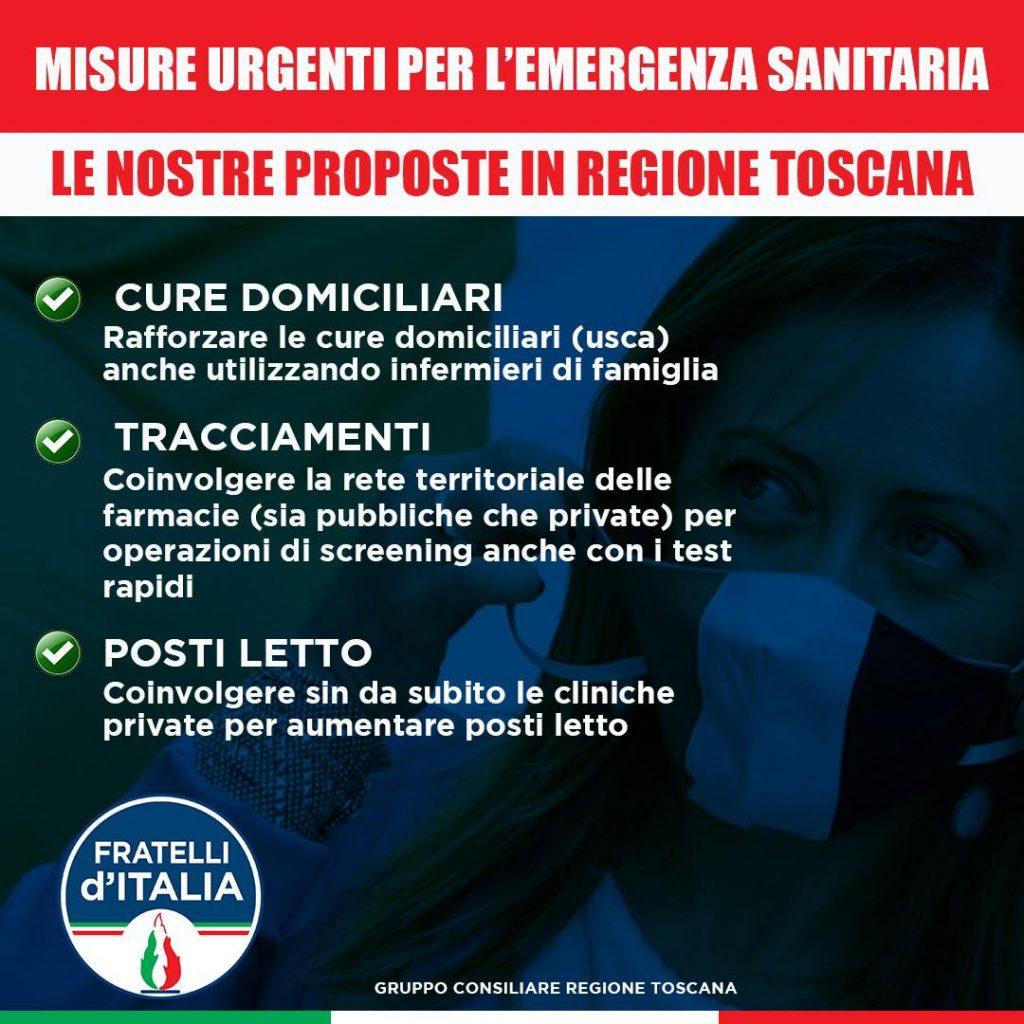 Covid, le proposte in Toscana di Fratelli d'Italia