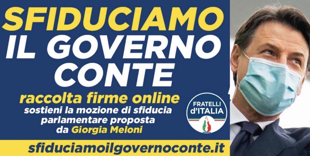 sfiducia governo Conte raccolta firme Fratelli d'Italia