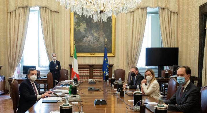 La delegazione di Fratelli d'Italia da Draghi. Vaccini
